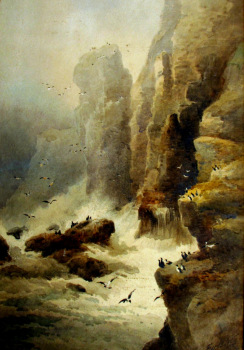 Bempton Cliffs Flambro', watercolour on paper, signed F.W. Booty 1914. Unframed.  SOLD  07.10.2014.
