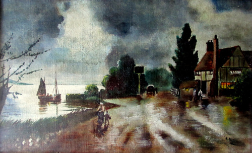 Moonlit Coastal Scene with Public House, oil on board, signed A. Allen. c19