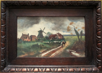 English Country Scene with Horses and Figures, oil on board, signed A. Allen. c1920.