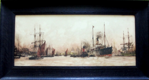 Above Greenwich, chromolithograph of watercolour signed Charles Dixon 1909.