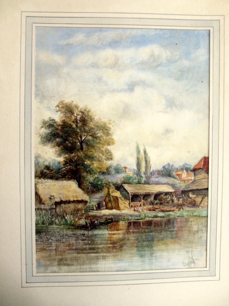 Riverside Farmyard Scene, watercolour, signed Bryant, c1880.