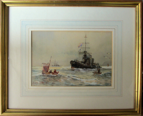 Royal Navy off Scarborough, North Yorkshire, watercolour, signed Austin Smi