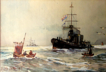 Royal Navy off Scarborough, North Yorkshire, watercolour, signed Austin Smith 1917.