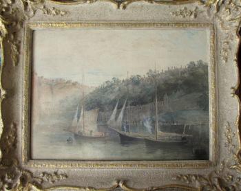 Three Fishing Smacks at Moorings, Tobermory, Mull, watercolour, signed John Terris R.S.W., c1891.