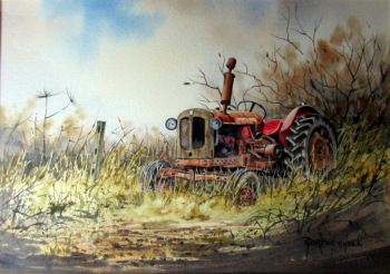 An Old Abandoned Tractor, watercolour, signed Gordon Chell. c1995.  SOLD  07.11.2014.