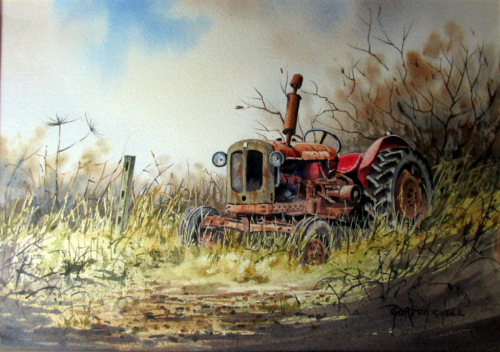 An Old Abandoned Tractor, watercolour, signed Gordon Chell. c1995.