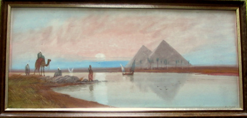 River Nile near Pyramids with Figures and Boats in Evening Moonlight, water