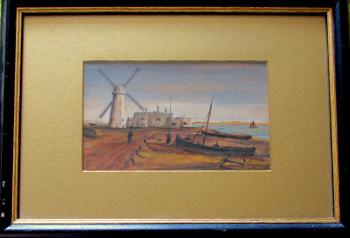Sandown Castle Mill, Deal, gouache and watercolour, signed JP, titled, 1825.