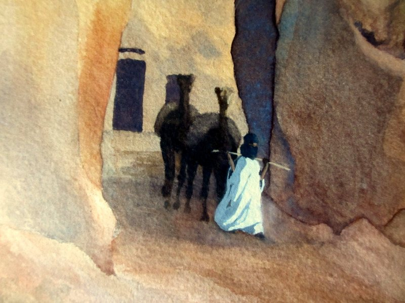 Kano Walls, with Camels, Figure and White Fulani cattle, watercolour and gouache, signed G. Thornton Smith, c1960. Detail.