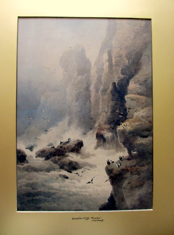 Bempton Cliffs Flambro', watercolour, signed FW Booty 1914.