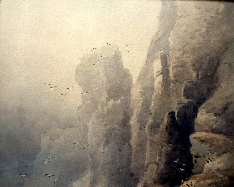 Bempton Cliffs Flambro', watercolour, signed FW Booty 1914. Detail.