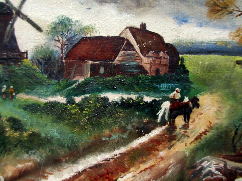 English Country Scene with Horses and Figures, oil on Birchmore Board, signed A. Allen, c1920.