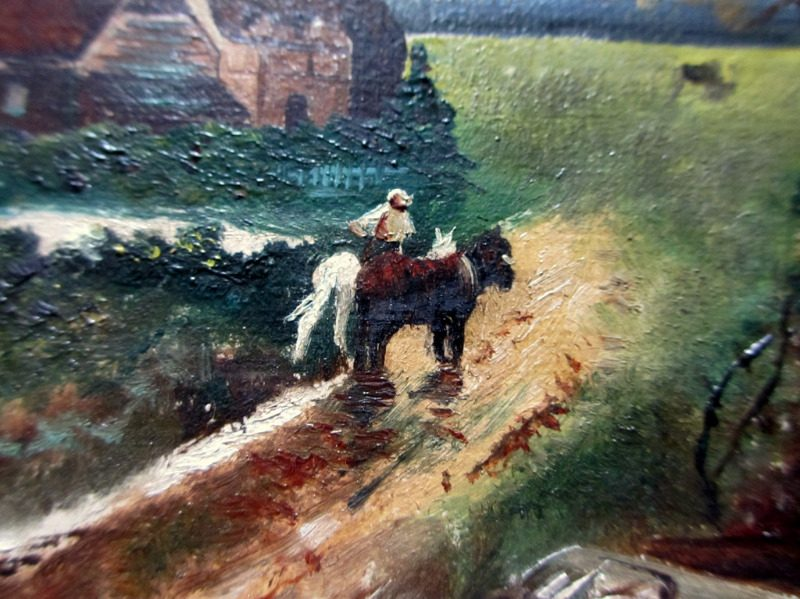 English Country Scene with Horses and Figures, oil on Birchmore Board, signed A. Allen, c1920. Detail.
