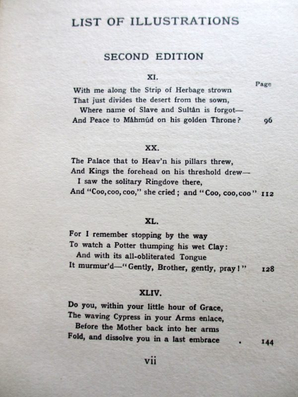 Rubaiyat of Omar Khayyam, Fitzgerald with Edmund Dulac, 1910. List of Illustrations. 2nd Edition.