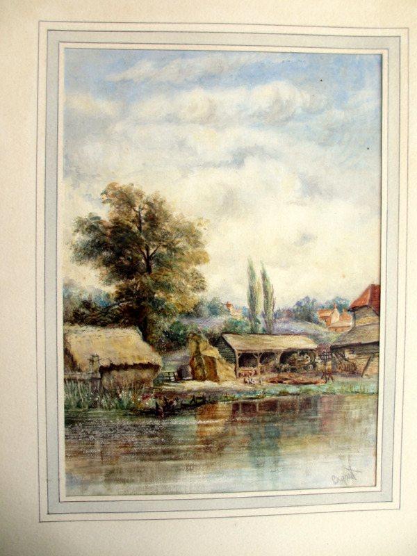 Riverside Farmyard Scene, watercolour, signed Bryant, c1880. Frame opened.