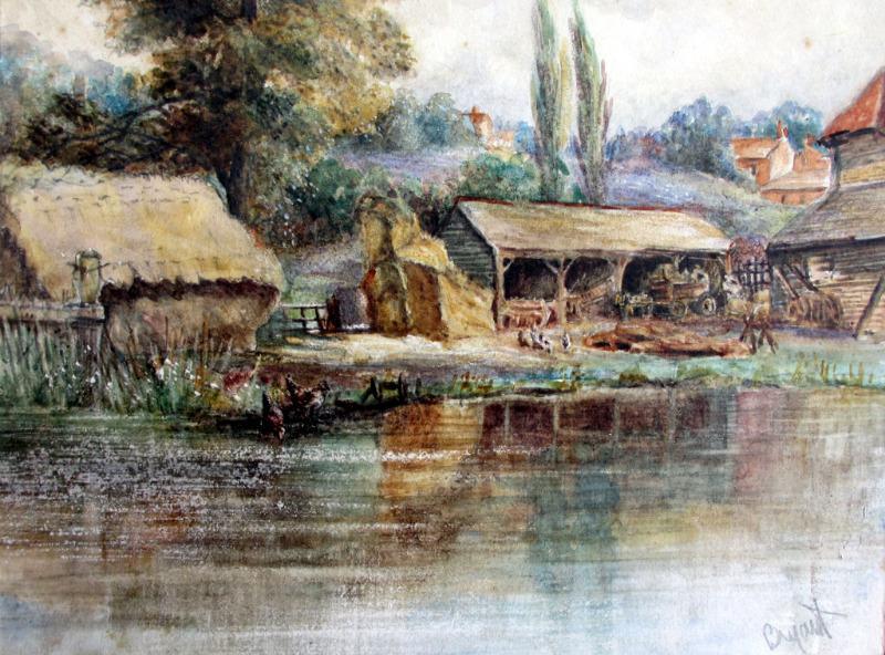 Riverside Farmyard Scene, watercolour, signed Bryant, c1880. Detail. Frame, opened.
