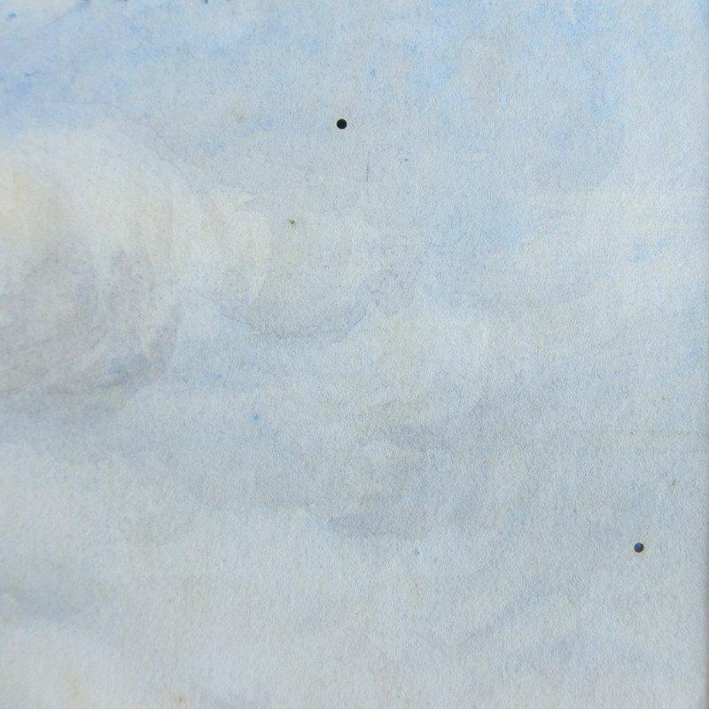 Riverside Farmyard Scene, watercolour, signed Bryant, c1880. Detail. 2 small bores upper rh quarter.