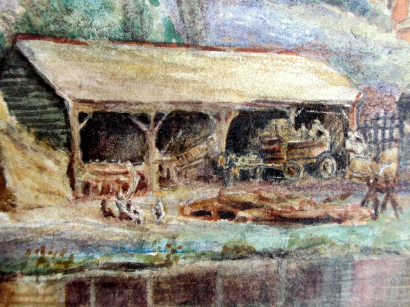 Riverside Farmyard Scene, watercolour, signed Bryant, c1880. Detail.
