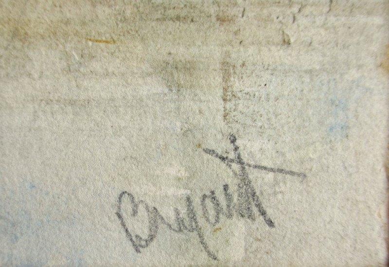 Riverside Farmyard Scene, watercolour, signed Bryant, c1880. Detail. Signature.