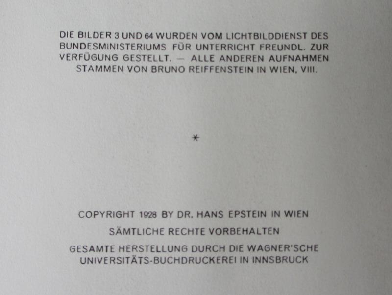 Das Schoene Wien, Bruno Reiffenstein, 1928. Copyright page.