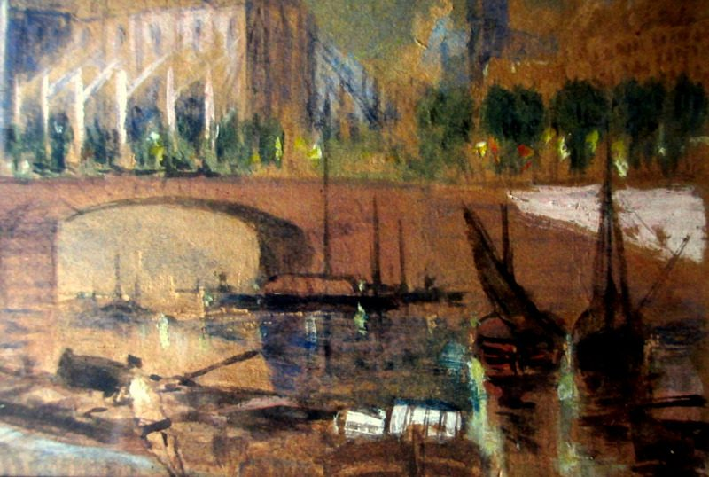 Notre Dame from the southeast, watercolour and bodycolour, unsigned. c1880. Detail.