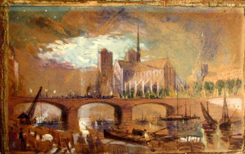 Notre Dame from the southeast, watercolour and bodycolour, unsigned. c1880. Detail. Out of frame.