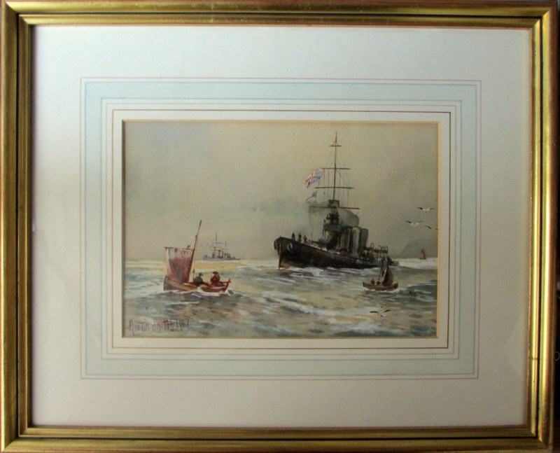 Royal Navy off Scarborough, watercolour, signed Austin Smith 1917.