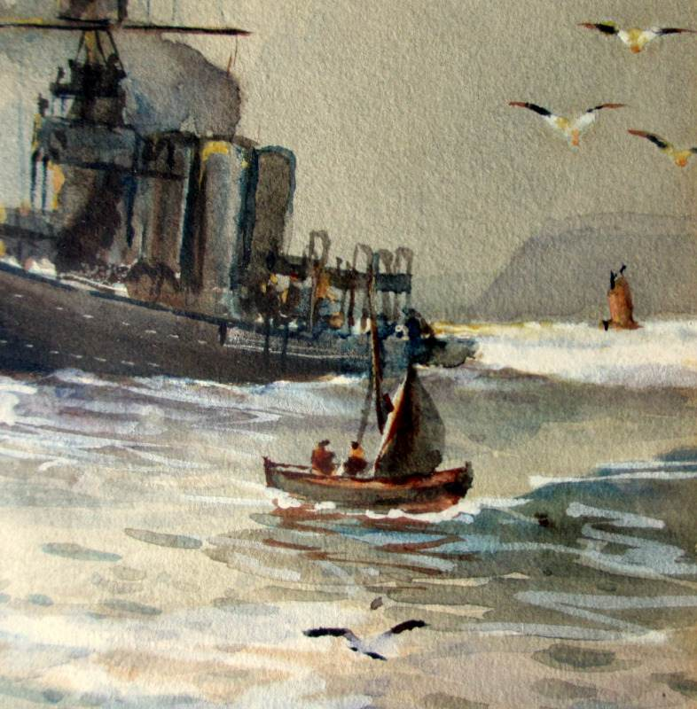 Royal Navy off Scarborough, watercolour, signed Austin Smith 1917. Detail.