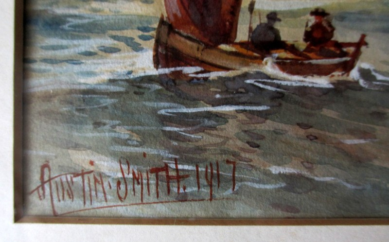 Royal Navy off Scarborough, watercolour, signed Austin Smith 1917. Detail. Signature.