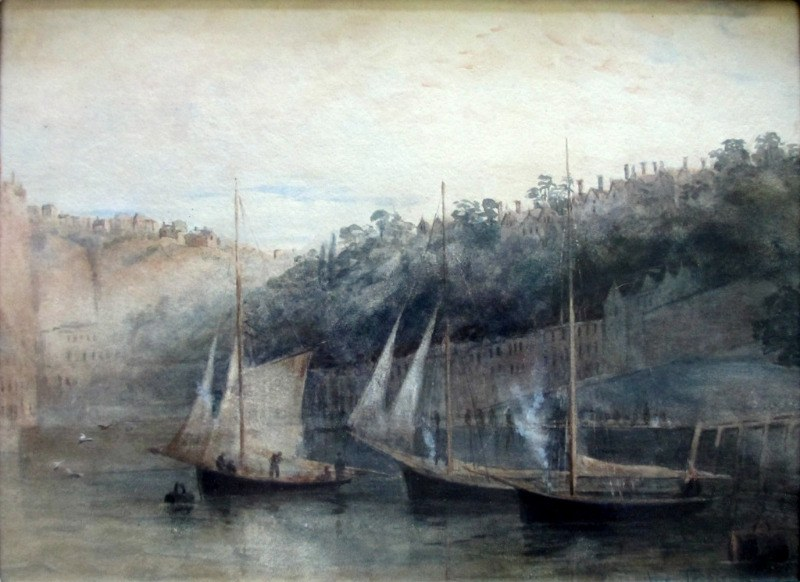 Three Fishing Smacks at Moorings, Tobermory Harbour, Mull, watercolour, signed John Terris, c1890.