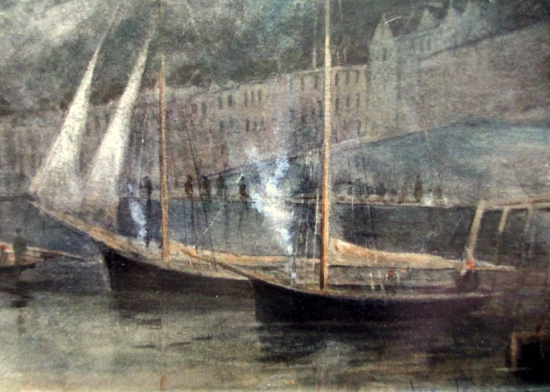 Three Fishing Smacks at Moorings, Tobermory Harbour, Mull, watercolour, signed John Terris, c1890. Detail.