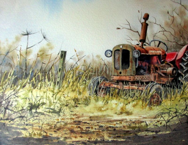 An Old Abandoned Tractor, watercolour, signed Gordon Chell, c1995. Detail.