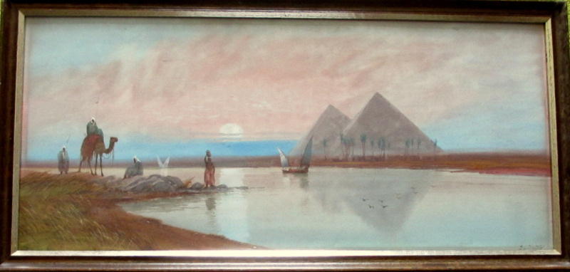 River Nile with Figures and Boats near Pyramids in Moonlit Evening Scene, watercolour, signed DH Pinder. c1919.
