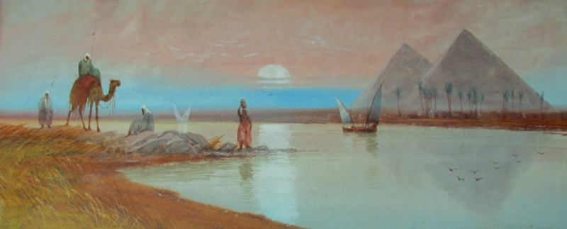 River Nile with Figures and Boats near Pyramids in Moonlit Evening Scene, watercolour, signed DH Pinder. c1919. Detail.