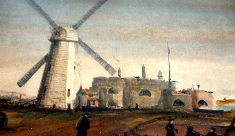 Sandown Castle Mill, Deal, gouache and watercolour, signed initials JP, titled and dated 1825. Detail.