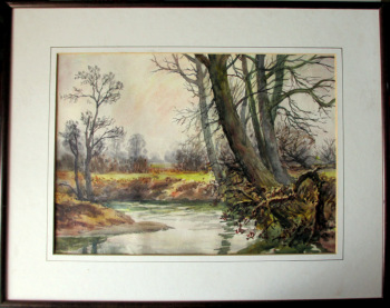 The Brook Near South Wigston Leicestershire, watercolour, faintly signed H. Bates, 1942. Unglazed.  SOLD 14.12.2015