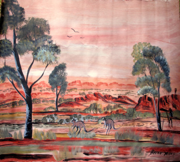 Man Hunting at Sunset, Red Centre, acrylic on canvas, signed Bevan Young. 2000.