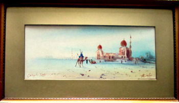 Caliiphs Tombs with Camels and Figures, watercolour, signed H. Linton. c1900.  SOLD  25.05.2017.