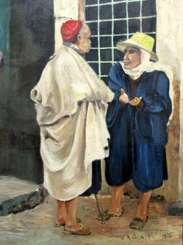Conversation, oil on board, signed W. A. Draysey, 1970. 20th C Israeli School.