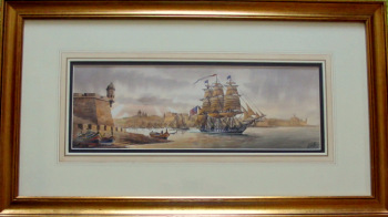 Grand Harbour 1804, U.S.S. Constitution, watercolour on paper, signed Ed. Galea Malta. 1998.