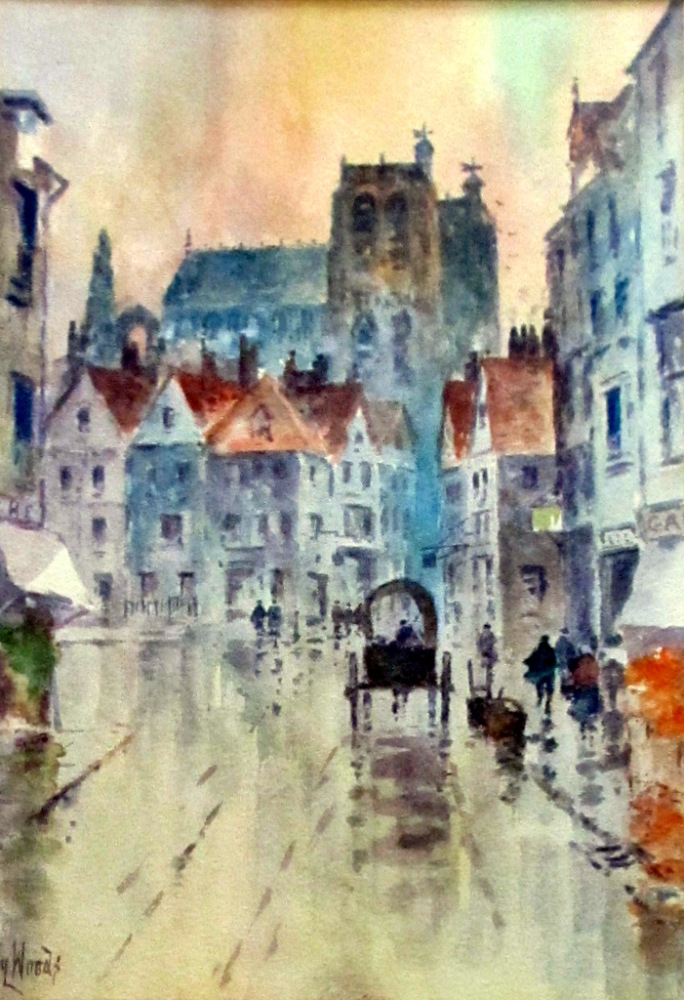 A Rainy Street Scene in Abbeville, watercolour, signed Hy Woods, c1890.