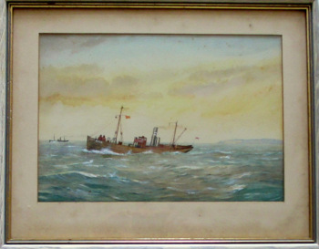 Minesweeper ST Stratherrick, A105, in 1914 War, watercolour & gouache. R. Gurnell. c1914.  SOLD  22.10.2015.