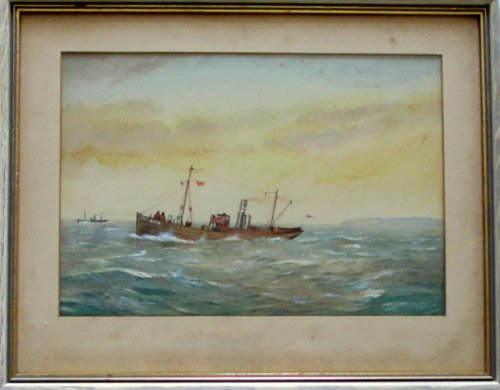 Minesweeper ST Stratherrick, A105, in 1914 War, watercolour & gouache. R. G