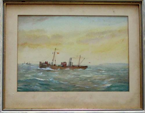 Minesweeper ST Stratherrick, A105, in 1914 War, watercolour & gouache. R. G