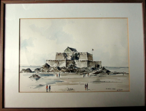 St. Malo, France, pen, ink and watercolour, signed W. Kozak 1984.