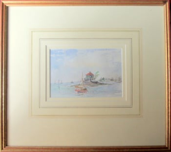 Oyster Watchman's House, Russel Island, Portsmouth, watercolour, inscribed verso. c1985.