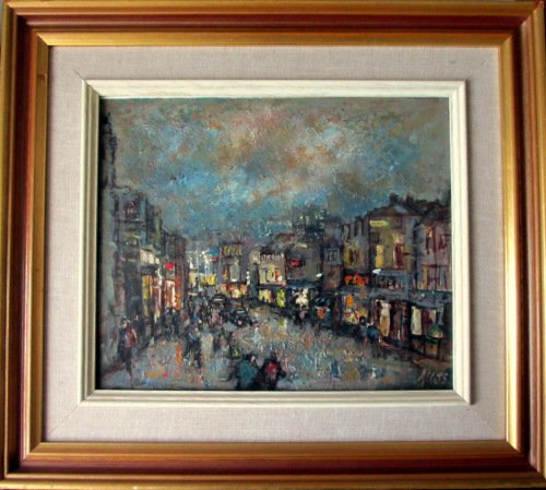 Street Scene Helston at Night, oil on board, signed Allets. c1975.