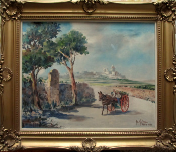 Horse and Cart on Road to Market near Mdina, oil on canvas, signed Jos. Galea Malta 1970.
