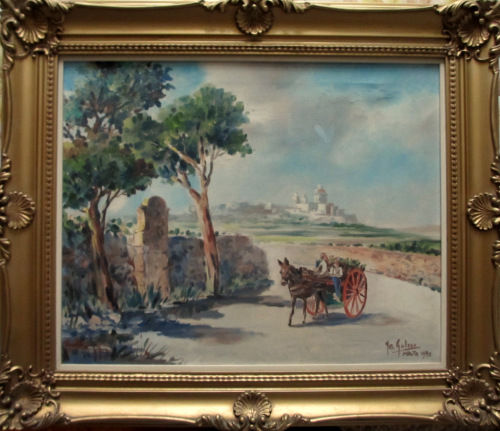 Horse and Cart on Road to Market near Mdina, oil on canvas, signed Jos. Gal