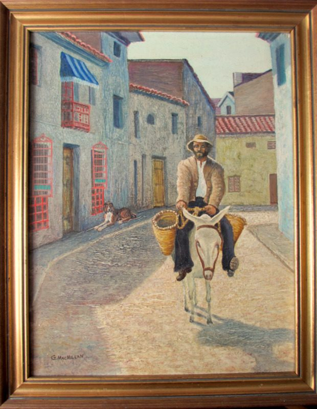 An Itinerant Seller on a Donkey in a Spanish Street, oil on board, signed G Macmillan. c1970.